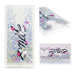 Smile Flower Dynamic Liquid Glitter Quicksand Soft TPU Case for Sony Xperia XA2