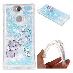Bubble Jumbo Rabbit Dynamic Liquid Glitter Sand Quicksand Star TPU Case for Sony Xperia XA2