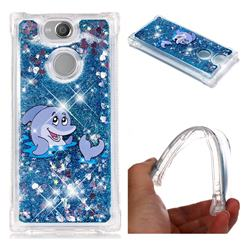 Happy Dolphin Dynamic Liquid Glitter Sand Quicksand Star TPU Case for Sony Xperia XA2