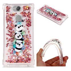 Three Pandas Dynamic Liquid Glitter Sand Quicksand Star TPU Case for Sony Xperia XA2