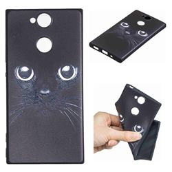 Bearded Feline 3D Embossed Relief Black TPU Cell Phone Back Cover for Sony Xperia XA2