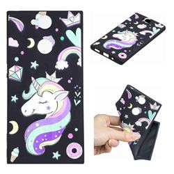 Candy Unicorn 3D Embossed Relief Black TPU Cell Phone Back Cover for Sony Xperia XA2