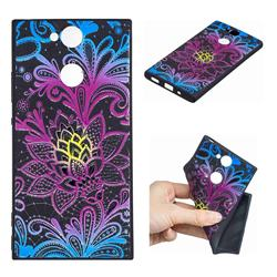 Colorful Lace 3D Embossed Relief Black TPU Cell Phone Back Cover for Sony Xperia XA2