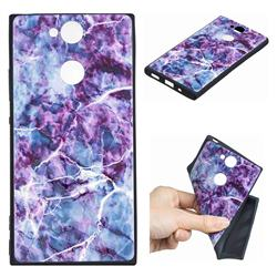 Marble 3D Embossed Relief Black TPU Cell Phone Back Cover for Sony Xperia XA2