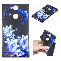 Blue Butterfly 3D Embossed Relief Black TPU Cell Phone Back Cover for Sony Xperia XA2