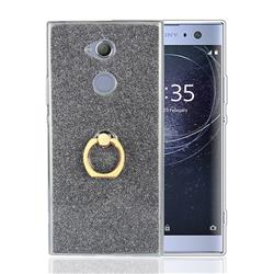 Luxury Soft TPU Glitter Back Ring Cover with 360 Rotate Finger Holder Buckle for Sony Xperia XA2 - Black