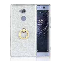Luxury Soft TPU Glitter Back Ring Cover with 360 Rotate Finger Holder Buckle for Sony Xperia XA2 - White