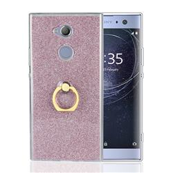 Luxury Soft TPU Glitter Back Ring Cover with 360 Rotate Finger Holder Buckle for Sony Xperia XA2 - Pink