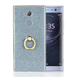 Luxury Soft TPU Glitter Back Ring Cover with 360 Rotate Finger Holder Buckle for Sony Xperia XA2 - Blue