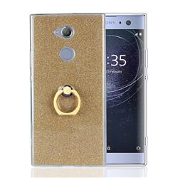 Luxury Soft TPU Glitter Back Ring Cover with 360 Rotate Finger Holder Buckle for Sony Xperia XA2 - Golden
