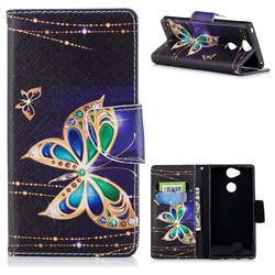 Golden Shining Butterfly Leather Wallet Case for Sony Xperia XA2