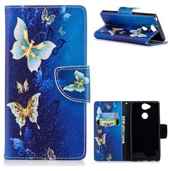 Golden Butterflies Leather Wallet Case for Sony Xperia XA2