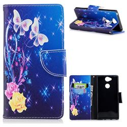 Yellow Flower Butterfly Leather Wallet Case for Sony Xperia XA2