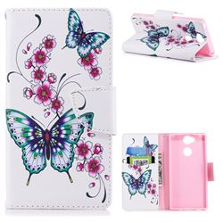 Peach Butterflies Leather Wallet Case for Sony Xperia XA2