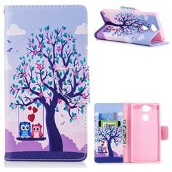 Tree and Owls Leather Wallet Case for Sony Xperia XA2