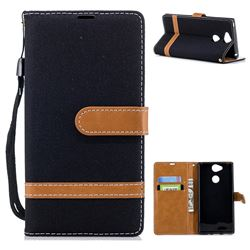 Jeans Cowboy Denim Leather Wallet Case for Sony Xperia XA2 - Black