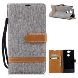 Jeans Cowboy Denim Leather Wallet Case for Sony Xperia XA2 - Gray