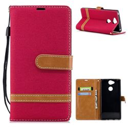 Jeans Cowboy Denim Leather Wallet Case for Sony Xperia XA2 - Red