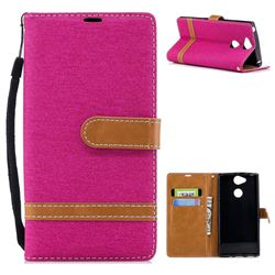 Jeans Cowboy Denim Leather Wallet Case for Sony Xperia XA2 - Rose