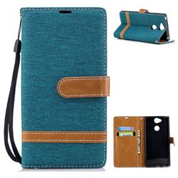 Jeans Cowboy Denim Leather Wallet Case for Sony Xperia XA2 - Green