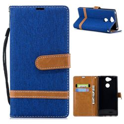 Jeans Cowboy Denim Leather Wallet Case for Sony Xperia XA2 - Sapphire