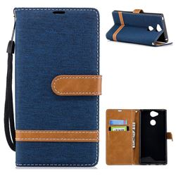 Jeans Cowboy Denim Leather Wallet Case for Sony Xperia XA2 - Dark Blue