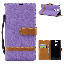 Jeans Cowboy Denim Leather Wallet Case for Sony Xperia XA2 - Purple