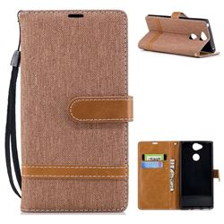 Jeans Cowboy Denim Leather Wallet Case for Sony Xperia XA2 - Brown