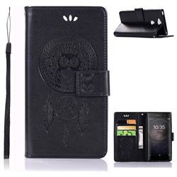 Intricate Embossing Owl Campanula Leather Wallet Case for Sony Xperia XA2 - Black