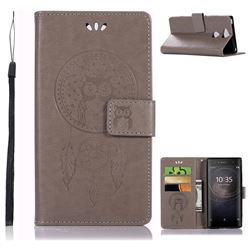Intricate Embossing Owl Campanula Leather Wallet Case for Sony Xperia XA2 - Grey