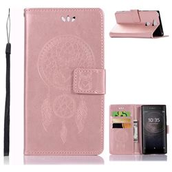 Intricate Embossing Owl Campanula Leather Wallet Case for Sony Xperia XA2 - Rose Gold