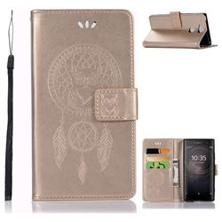 Intricate Embossing Owl Campanula Leather Wallet Case for Sony Xperia XA2 - Champagne
