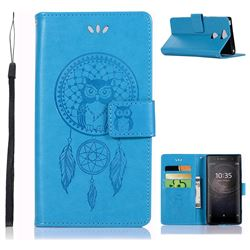 Intricate Embossing Owl Campanula Leather Wallet Case for Sony Xperia XA2 - Blue