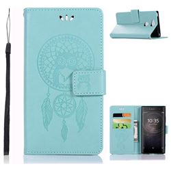 Intricate Embossing Owl Campanula Leather Wallet Case for Sony Xperia XA2 - Green