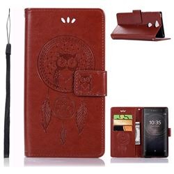 Intricate Embossing Owl Campanula Leather Wallet Case for Sony Xperia XA2 - Brown