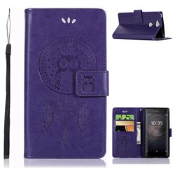 Intricate Embossing Owl Campanula Leather Wallet Case for Sony Xperia XA2 - Purple