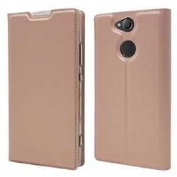 Ultra Slim Card Magnetic Automatic Suction Leather Wallet Case for Sony Xperia XA2 - Rose Gold
