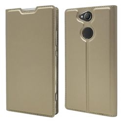 Ultra Slim Card Magnetic Automatic Suction Leather Wallet Case for Sony Xperia XA2 - Champagne