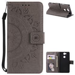 Intricate Embossing Datura Leather Wallet Case for Sony Xperia XA2 - Gray