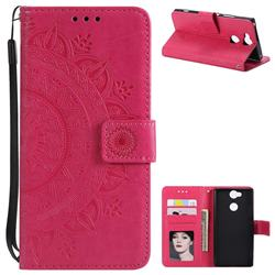 Intricate Embossing Datura Leather Wallet Case for Sony Xperia XA2 - Rose Red