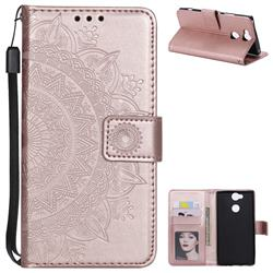 Intricate Embossing Datura Leather Wallet Case for Sony Xperia XA2 - Rose Gold
