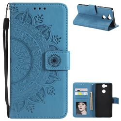 Intricate Embossing Datura Leather Wallet Case for Sony Xperia XA2 - Blue