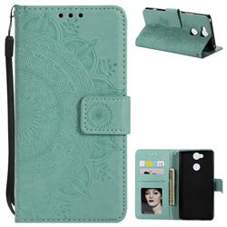 Intricate Embossing Datura Leather Wallet Case for Sony Xperia XA2 - Mint Green