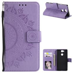 Intricate Embossing Datura Leather Wallet Case for Sony Xperia XA2 - Purple