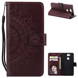 Intricate Embossing Datura Leather Wallet Case for Sony Xperia XA2 - Brown