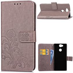 Embossing Imprint Four-Leaf Clover Leather Wallet Case for Sony Xperia XA2 - Grey