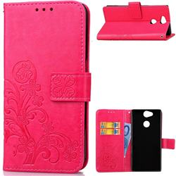 Embossing Imprint Four-Leaf Clover Leather Wallet Case for Sony Xperia XA2 - Rose