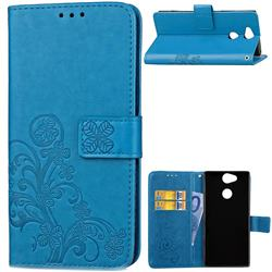 Embossing Imprint Four-Leaf Clover Leather Wallet Case for Sony Xperia XA2 - Blue