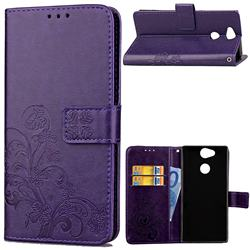 Embossing Imprint Four-Leaf Clover Leather Wallet Case for Sony Xperia XA2 - Purple