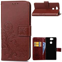 Embossing Imprint Four-Leaf Clover Leather Wallet Case for Sony Xperia XA2 - Brown
